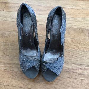 Jeffrey Campbell sparkly crystal gray cutout heels